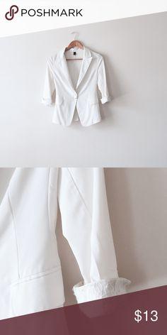 "White blazer Size XS. Fits 32"" bust or less. Lace foldup sleeves. Jackets & Coats Blazers"