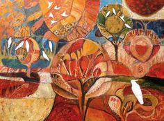 """Cockatoos: Remembering the Golden Path"" by Sandipa - mixed media on canvas, 76 x 102 cm Landscape Paintings, Watercolor Paintings, Landscapes, Cockatoo, Aboriginal Art, Australian Artists, Mixed Media Canvas, Medium Art, Painting Inspiration"
