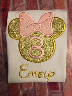 Pink and Gold Minnie Mouse birthday shirt by ForeverRoseandCo