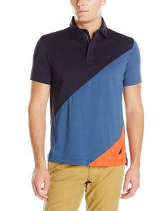Nautica Men's Blue Pieced Polo Shirt, Navy, Small
