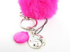 Pom Pom Keychain, Rabbit Fur Keychain, Fluffy Keychain, Love You Keychain, Fur Pom Pom, Pink Fur Keychain