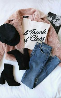 A Touch of Class Light Pink Tee trendy outfits Fashion Mode, Look Fashion, Teen Fashion, Winter Fashion, Fashion Outfits, Fashion Flatlay, Flat Lay Fashion, Womens Fashion, Fashion Boots