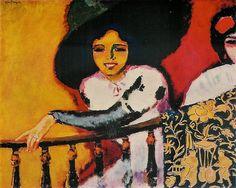 Kees van Dongen - In het Plaza (Vrouw aan de balustrade) 1911 - Olieverf op Doek 83x101 cm - Museum de l'Annociade, Saint Tropez
