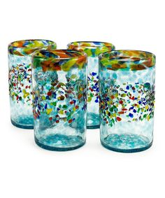 Love this Aqua del Sol Recycled Pint Glass - Set of Four by Bambeco on #zulily! #zulilyfinds