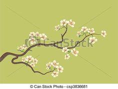 Vector - japanese cherry tree - stock illustration, royalty free illustrations, stock clip art icon, stock clipart icons, logo, line art, EPS picture, pictures, graphic, graphics, drawing, drawings, vector image, artwork, EPS vector art