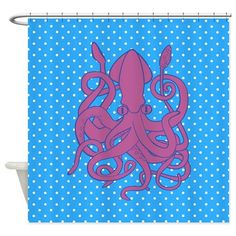 Gigantic squids in real life are scary. But when they're used as part of a nautical design, you'll forgive their monstrous size. Take a look at this nautical shower curtain for instance. Nautical Flip Flops, Nautical Shower Curtains, Nautical Design, Forgive, Real Life, Scary, Kids Rugs, Throw Pillows, Purple