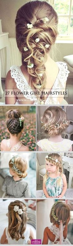 27 Cute Flower Girl Hairstyles ❤️ Here you find some simple flower girl hairstyles and more complex which was made by a professionals. See more: http://www.weddingforward.com/flower-girl-hairstyles/ #wedding #flowergirlhairstyles