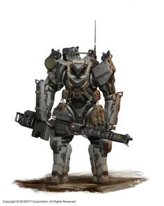 Superheavy Battle Armor with Pulse Rifle. (Bug Hunt by StTheo on DeviantArt) Robot Concept Art, Armor Concept, Robot Art, Futuristic Armour, Futuristic Art, Science Fiction, Mekka, Sci Fi Armor, Future Soldier