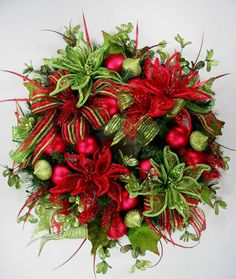 Bright Red Lime Green Sparkle Christmas Wreath by Ed The Wreath Guy