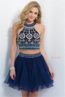 Bead Blush 10077 Halter Neck Navy Short Two Piece Homecoming Dresses 2015
