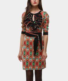Green & Red Tie-Waist Kiowa Chorreras Dress by Almatrichi #zulily #zulilyfinds