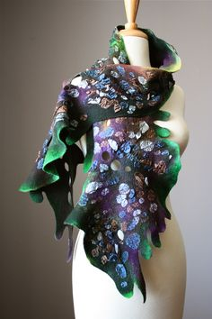 Nuno Felted scarf  Wool  Silk Purple Green  lizard scale reptile  collage Abstract Contemporary Original Modern Art