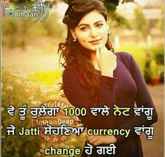 @manidrehar❤ Punjabi Jokes, Punjabi Funny, Shayari Funny, Funny Qoutes, Punjabi Attitude Quotes, Laughing Colors, Desi Humor, Sad Heart