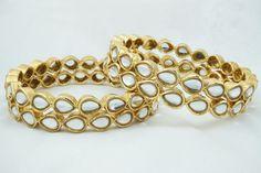 Indian Bollywood Gold Plated Kundan Bridal Bangles Bracelet Set Jewelry 2.6