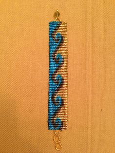 Turqouise Wave Design Beaded Bracelet