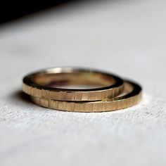 14k tree bark wedding ring set by PraxisJewelry on Etsy