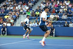 Bob and Mike Bryan during a quarterfinal match against David Marrero and Fernando Verdasco in Louis Armstrong Stadium.