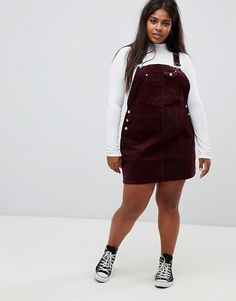 Order ASOS DESIGN Curve cord dungaree dress in oxblood online today at ASOS for fast delivery, multiple payment options and hassle-free returns (Ts&Cs apply). Get the latest trends with ASOS. Chubby Girl Fashion, Teen Fashion, Fashion Outfits, Autumn Outfits Curvy, Curvy Girl Outfits, Cute Lazy Outfits, Trendy Outfits, Overall Dress, Asos Curve