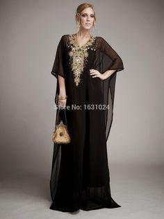 Trendy Sexy negro musulmán árabe Kaftan vestidos de noche dorado que rebordea la…