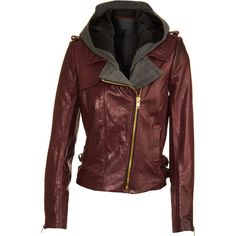 A.L.C. Hooded Moto Jacket - Ox Blood size 0 ($1,574) ❤ liked on Polyvore featuring outerwear, jackets, leather jackets, coats, women, biker jackets, red motorcycle jacket, moto jackets and leather biker jackets