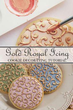 How to make gold royal icingSweetAmbs Royal Frosting, Sugar Cookie Royal Icing, Iced Sugar Cookies, Cookie Icing, Cookie Cutters, Fancy Cookies, How To Make Cookies, Owl Cookies, Elegant Cookies