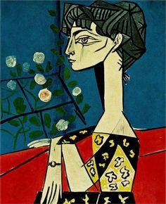 Pablo Picasso - Jacqueline with Flowers, Oil on canvas, 116 x cm.e Picasso, Paris. Pablo Picasso Artwork, Kunst Picasso, Picasso Paintings, Georges Braque, Paul Gauguin, Dora Maar, Cubist Movement, Cubism Art, Pics Art