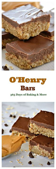O'Henry Bars are a sweet oatmeal base topped with chocolate and peanut butter - a great after-school snack or a delicious addition to holiday cookie trays!