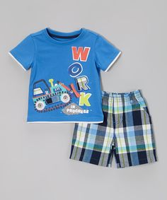 Look what I found on Blue 'Work' Tee & Blue Plaid Shorts - Toddler by Kids Headquarters Boys Summer Outfits, Little Boy Outfits, Baby Boy Outfits, Kids Outfits, Polo Outfit, Kids Headquarters, Kids Fashion Boy, Babies Fashion, Boys Pajamas