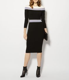 Karen Millen, STRIPED KNITTED MIDI DRESS Black/Multi