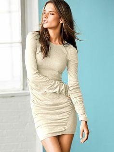 8fa49a6aea Victoria s Secret Ruched Knit Sweater Dress - Ink Blot or Blonde Heather -  Size Small -