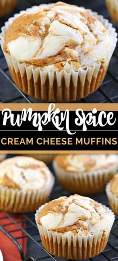 These PUMPKIN SPICE CREAM CHEESE MUFFINS are a moist pumpkin cake muffin swirled with an epic creamy cream cheese filling. It's the perfect Autumn breakfast or snack, yet delicious enough to be a dessert. Pumpkin Recipes, Fall Recipes, Coffee Recipes, Pumpkin Spice Muffins, Pumpkin Cream Cheese Muffins, Pumpkin Biscotti, Pumpkin Spice Cake, Fall Breakfast, Cream Cheese Filling