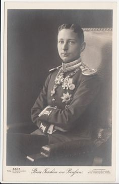 Prince Joachim of Prussia in parade uniform of foot guards regiment - RARE pcd