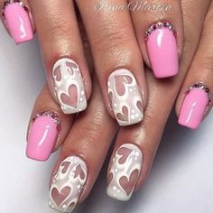So-Pretty Nail Art Designs For Valentines Day ★ Heart Nail Designs, Square Nail Designs, Valentine's Day Nail Designs, Pretty Nail Designs, Best Nail Art Designs, Pretty Nail Art, Acrylic Nail Art, Nail Art Diy, Cool Nail Art