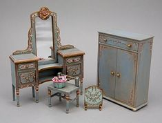 Hand painted Shabby Chic and Victorian dollhouse miniature furniture: