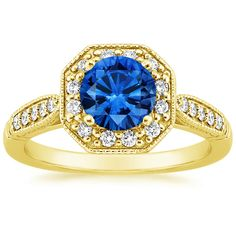 18K+Yellow+Gold+Sapphire+Victorian+Halo+Diamond+Ring+from+Brilliant+Earth