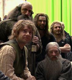 The hobbit behind the scenes.  haha look at Kili's hair!