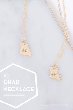 Spoil your Alpha Phi Grad with a custom sorority state necklace! Alpha Phi Grad Gift | APhi Sorority State Necklace | College Graduation Gift Idea | Grad Gift for Her | Grad Gift for Girlfriend | Grad Gift for Daughter | Grad Gifts for Best Friends | Personalized State Necklace | Sorority Graduation Necklace #HappyGraduation #SororityGrad College Grad Gifts, College Sorority, Sorority Graduation, Graduation Necklace, Kappa Alpha Theta, Alpha Chi Omega, Pi Beta Phi, Delta Zeta, Delta Sorority