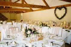 Beautiful decor for Ginny and Tim's big day here at Curradine Barns