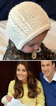 Free Knitting Pattern for Princess Charlotte's Baby Bonnet - This baby bonnet was inspired by the bonnet that the Princess Charlotte wore when she left the hospital. Designed by Sarah Lehto. Pictured project by swisspick. The bonnet was actually worn reversed on Charlotte, with the hem framing her face. It looks adorable either way, and this bonnet can be worn both ways, too, with the hem in front (and the cables horizontal) or back (and the cables vertical).