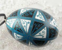 Black White and Blue 48 Triangles Pysanka Ornament by dandylioneggs, via Flickr