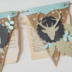 A thanksgiving banner created by Becki Adams using old book pages, burlap, and glitter die cuts