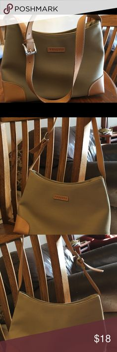 Rosetti bag. This is near new condition. Khaki canvas and leather. This Rosetti bag is perfect for fall and in pristine condition. So cute! Rosetti Bags Shoulder Bags