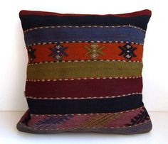 Anatolian Rug Pillow Cover kilim by mothersatelier on Etsy, $69.00