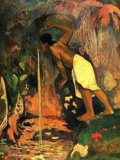 Mysterious Water, 1893 by Paul Gauguin, 1st Tahiti period. Post-Impressionism. genre painting. Private collection, Zürich, Switzerland