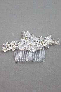 Peigne cheveux mariage ivoir en dentelle Dentelle Ecru : Accessoires coiffure par couleur-dentelle sur ALittleMarket 25€