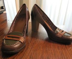 brown and green penny loafer heels - perfect for autumn