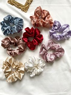 Fall Accessories, Girls Hair Accessories, Diy Hair Scrunchies, Satin, Elastic Hair Ties, Pastel Purple, Vintage Stil, Ponytail Holders, Shiny Hair