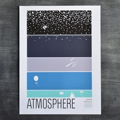 "A 5 color screen print depicting the layers of the atmosphere. Measures 18"" x 24"", on 100 lb white stock, signed and stamped by the artists. Fits standard frame"