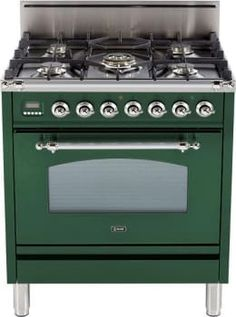 Ilve UPN76DVGGVS 30 Inch Professional-Style Gas Range with 5 Semi-Sealed Burners, European Convection, Rotisserie, Flame Failure Safety Device, Heat Insulated Door and Full Width Warming Drawer: Emerald Green, Brass Trim