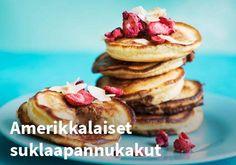 Amerikkalaiset suklaapannukakut, Resepti: Valio #kauppahalli24 #resepti #jälkiruoka #pannukakut #suklaa #valio